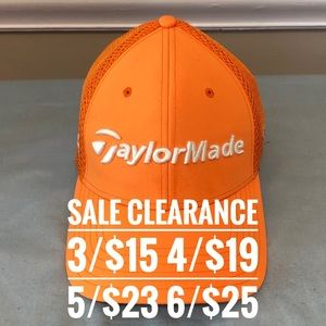 TAYLORMADE Orange Golf Cap SALE CLEARANCE 3 for 15